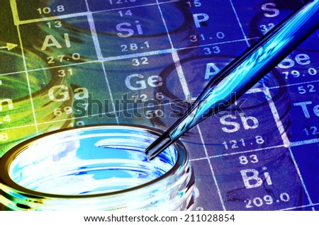 Periodic table of Elements, Bottle and Dropper in Laboratory Experiment. - stock photo