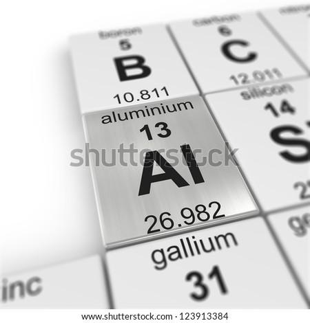 periodic table of elements, focused on aluminium - stock photo