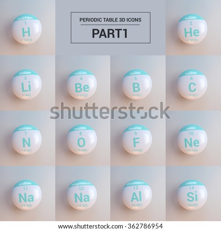 periodic table of elements set - stock photo
