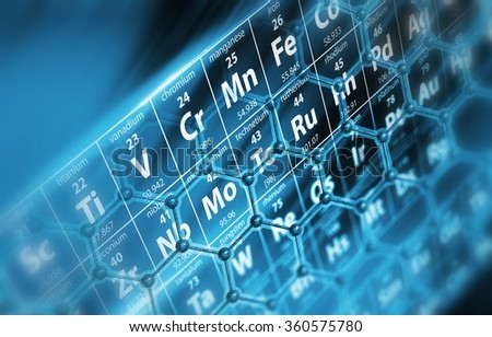 Periodic Table with Molecules Concept Illustration.  - stock photo