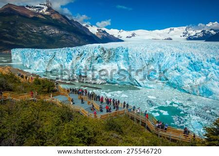 Perito Moreno Glacier in the Argentinian Patagonia - stock photo