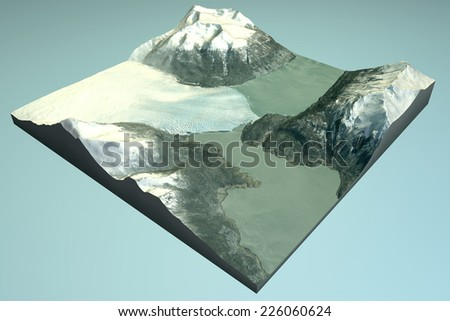 Perito Moreno, satellite view, glacier, 3d section map. Element of this image are furnished by NASA - stock photo