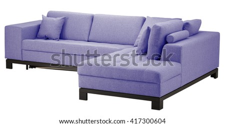 Periwinkle corner sofa isolated on white include clipping path