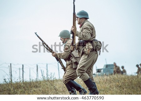 "PERM, RUSSIA - JULY 30, 2016: ""Perm Regional Museum"", Historical reconstruction of second world war. Soldiers go on the attack."