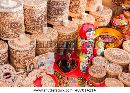 PERM, RUSSIA - March 13, 2016: Trade counters with decorative woodwork on the celebration of Carnival