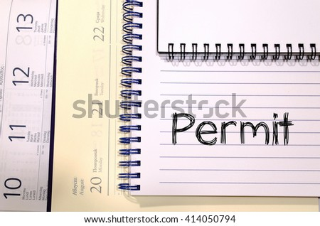 Permit text concept write on notebook - stock photo