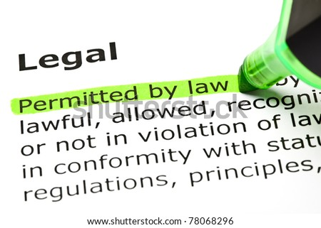 Permitted by Law highlighted in green, under the heading Legal. - stock photo