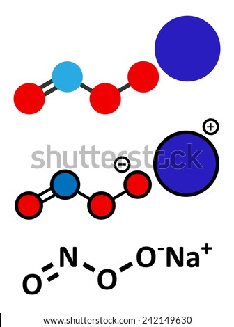 Peroxynitrite (sodium) reactive nitrogen species molecule. Formed by the reaction of the free radicals nitric oxide and superoxide in the human body. Skeletal formula and stylized representations. - stock photo