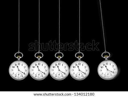 Perpetual motion concept with old pocket watches - stock photo