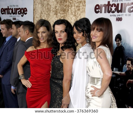 "Perrey Reeves, Debi Mazar, Emmanuelle Chriqui and Carla Gugino at the Season 7 Premiere of ""Entourage"" held at the Paramount Pictures Studios in Hollywood, USA on June 16, 2010."