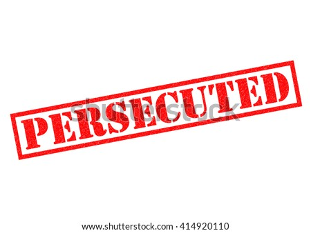 PERSECUTED red Rubber Stamp over a white background. - stock photo
