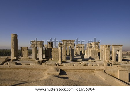 Persepolis - the palace of Darius the Great. Built on the south west from Apadana palace. In old Persian called Tacara. The central part of the palace was rectangle shape, with 12 columns. - stock photo