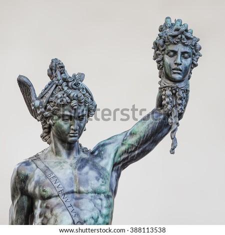 Perseus holding the head of Medusa by Benvenuto Cellini  - stock photo