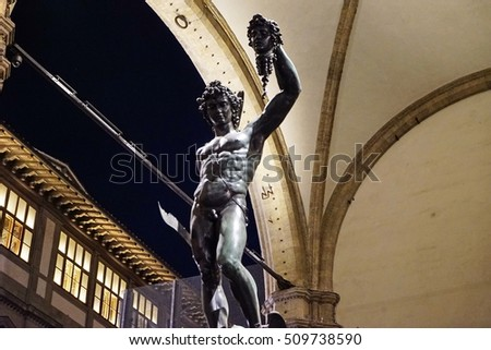 Perseus with the Head of Medusa in Loggia dei Lanzi at night, Signoria square, Florence, Italy