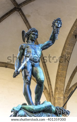 Perseus with the Head of Medusa is a bronze sculpture made by Benvenuto Cellini in 1545. The subject matter of the work is the mythological story of Perseus beheading Medusa. - stock photo