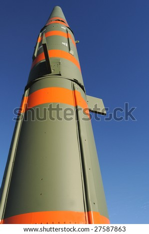 Pershing 1 was a mobile, two-stage ballistic missile, first fired in 1963, and capable of carrying nuclear warheads. - stock photo