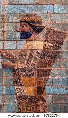 Persian Achaemenid soldier from 500 BC, belonging to ancient Achaemenian Empire which is mostly famous for its king, Cyrus the Great. - stock photo