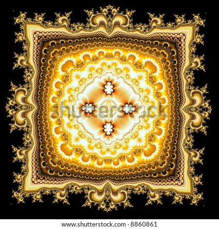 Persian rug pattern generated by fractals - stock photo