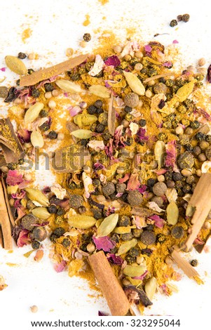 Persian Whole Spices Blend with Rose Petals, Turmeric, Cinnamon Sticks, Black Pepper - stock photo