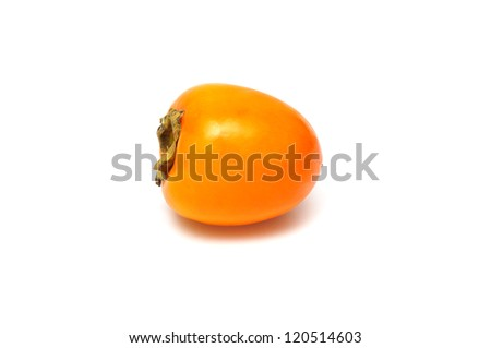 Persimmon fruit also known as khaki or sharon isolated on white background