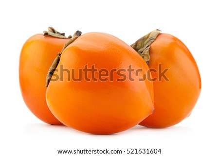 Persimmon fruit closeup isolated on white background