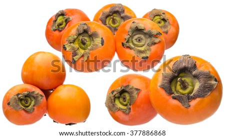 persimmon fruit on a white background, collage - stock photo