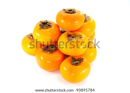 persimmon isolated on white background - stock photo