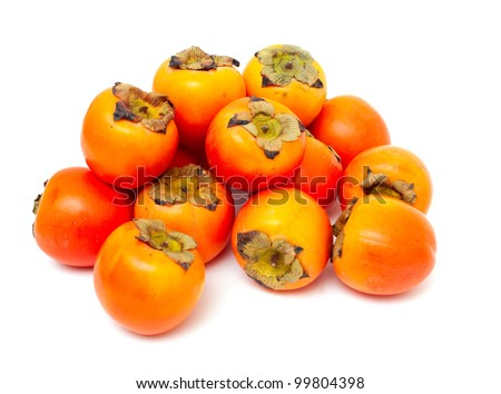 persimmons isolated on white background - stock photo