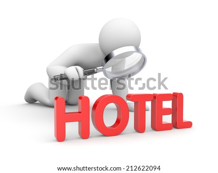 Person analyzes hotels - stock photo