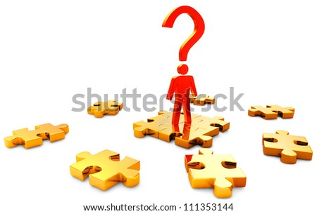 person and color puzzles as a symbol of searching a right solution - stock photo