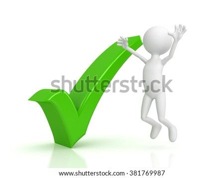 Person and green checkmark on white background
