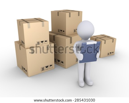 Person as manager in a warehouse and a pile of cardboard boxes