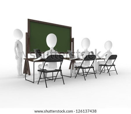 Person at the head of the class - stock photo