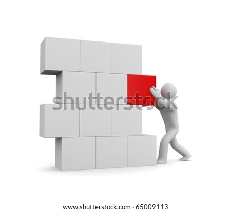 Person build wall. Image contain clipping path