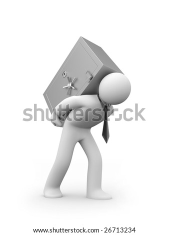 Person carry safe - stock photo