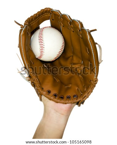 person catching baseball in leather baseball glove isolated in white - stock photo