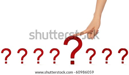 Person chooses the most important question in his life - stock photo