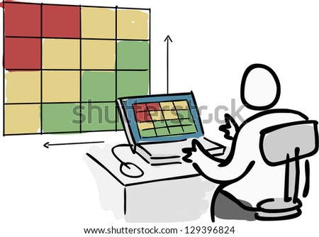 Person doing risk analysis on computer screen - stock photo