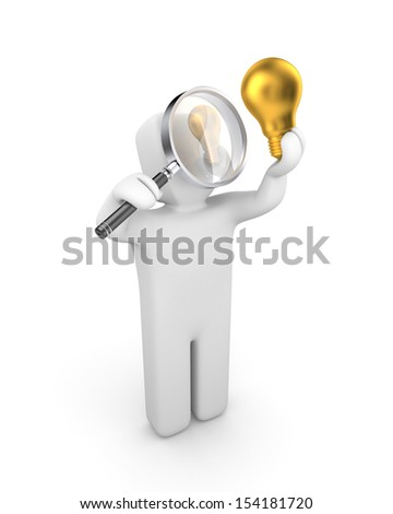 Person examines lightbulb. New idea metaphor - stock photo