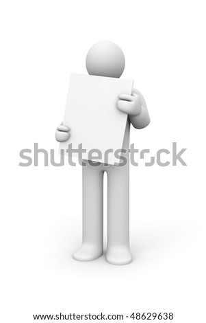Person hold blank board - stock photo