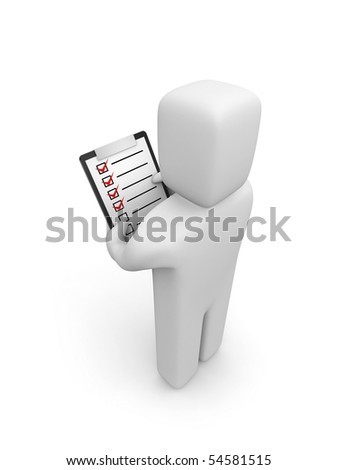 Person hold clipboard - stock photo