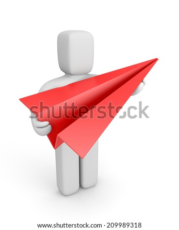 Person hold red paper plane - stock photo
