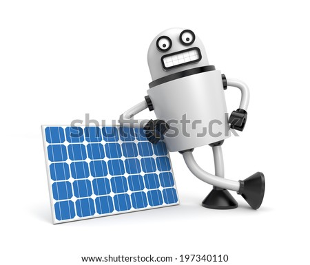 Person hold solar panel - stock photo