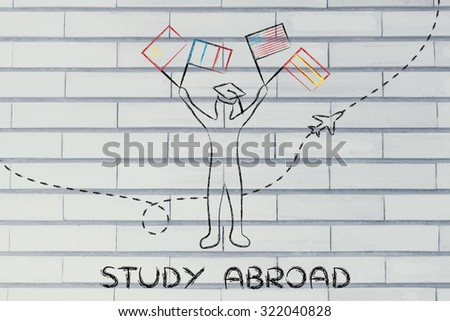 person holding flags and airplane flying in the background, concept of studying abroad