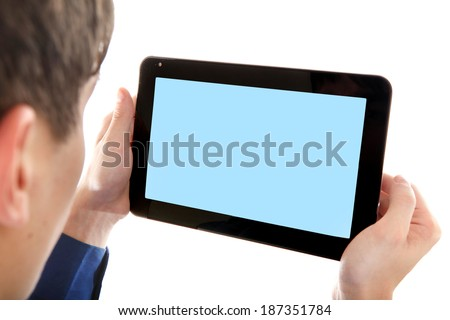 Person holding Tablet Computer with Empty screen Isolated on the White Background - stock photo