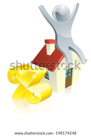 Person house percent concept on happy man sitting on house. Could be concept for finding the right mortgage - stock photo