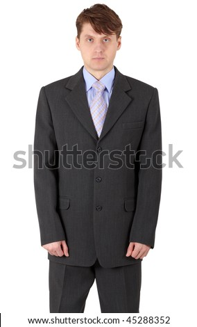 Person in a dark jacket on a white background