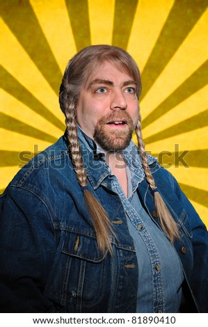 Person in Denim isolated over a yellow and brown striped background - stock photo