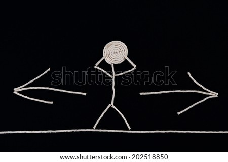 Person in front of a choice, unusual concept - stock photo