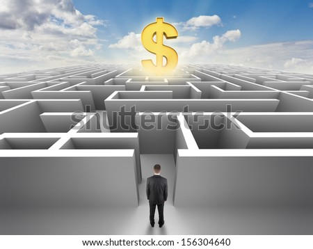 Person in front of a maze, success challenge - stock photo